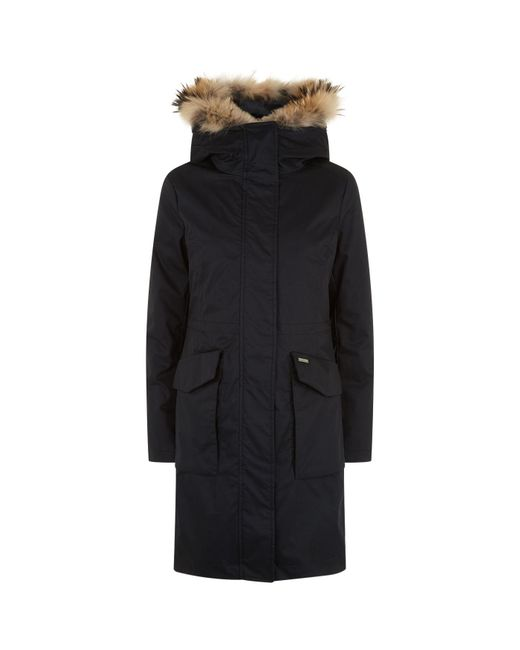 Woolrich - Black Fur Lined Padded Military Parka - Lyst