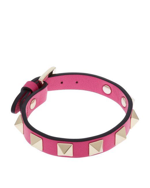 Valentino - Pink Leather Rockstud Bracelet - Lyst