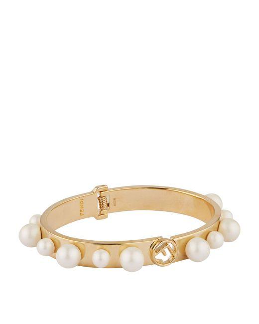 Fendi - Multicolor Pearl Logo Bracelet - Lyst