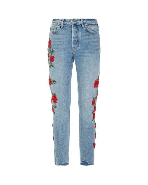 GRLFRND   Blue Karolina Rose Printed Jeans   Lyst