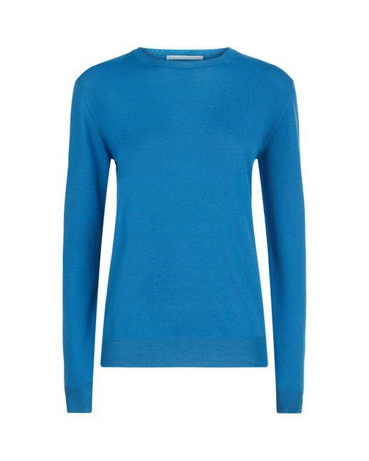 Stella McCartney   Blue Merino Wool Round Neck Sweater   Lyst