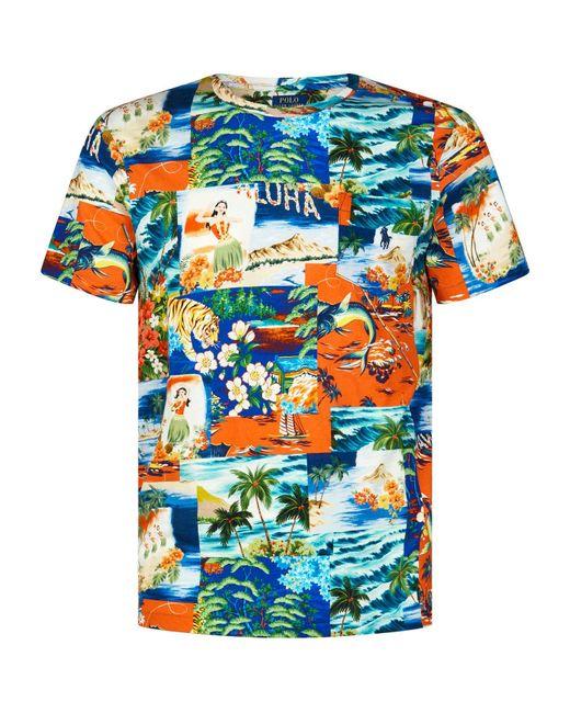 86d62ad953898 Lyst - Polo Ralph Lauren Hawaiian Print T-shirt in Orange for Men