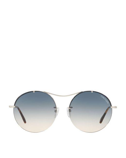 Tom Ford - Metallic Round Sunglasses - Lyst
