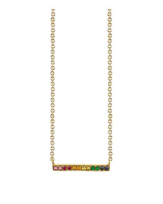 Sydney Evan - Metallic Rainbow Multicolor Sapphire, Emerald & 14k Yellow Gold Long Bar Necklace - Lyst
