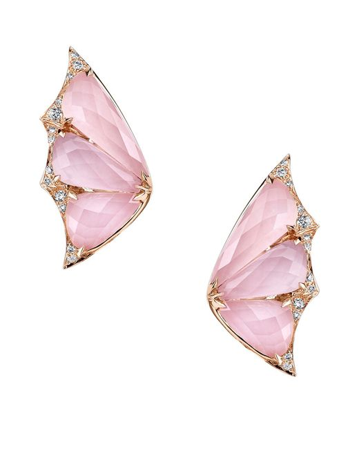 Stephen Webster - Pink Rose Gold And Diamond Fly By Night Crystal Haze Earrings - Lyst