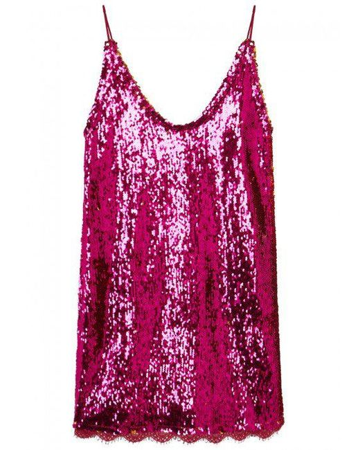 Free People | Pink Seeing Double Sequinned Mini Dress | Lyst