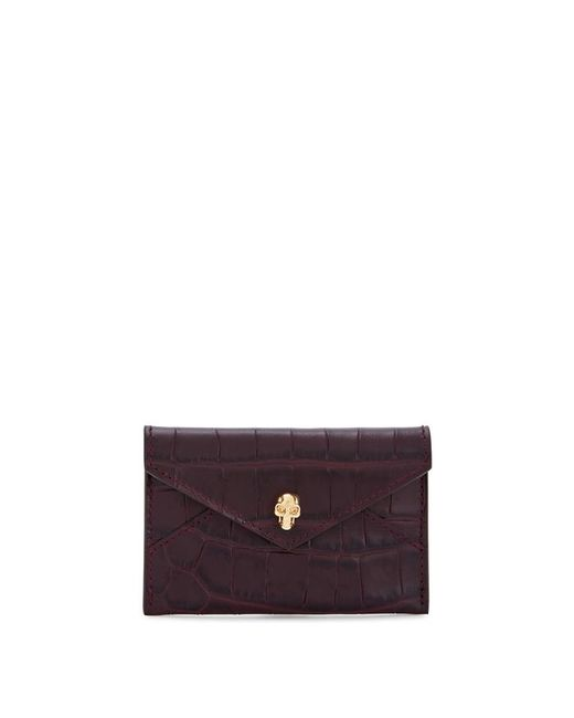 Alexander McQueen - Purple Crocodile-effect Envelope Leather Card Holder - Lyst