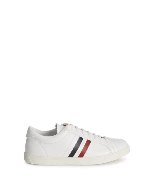 696590382 Moncler White Leather Trainers in White for Men - Save ...