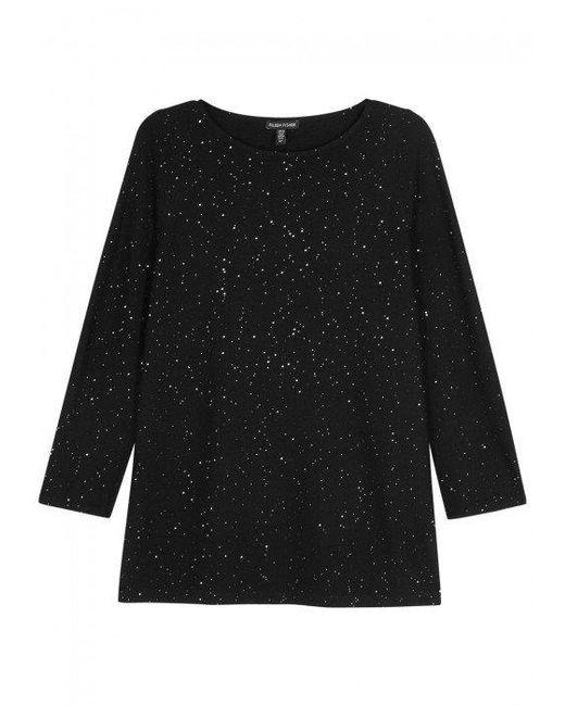 Eileen Fisher   Black Embellished Wool Jumper   Lyst