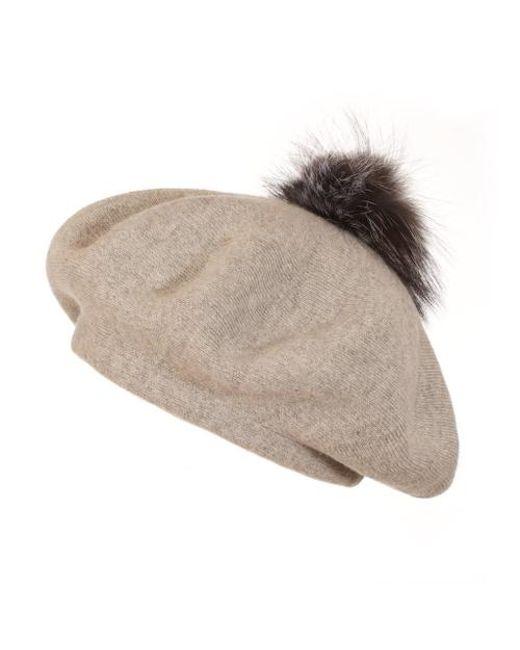 7d97805f07c Popski London Bella Beret Fur Pom Pom Hat In Whisper Grey in Gray - Lyst