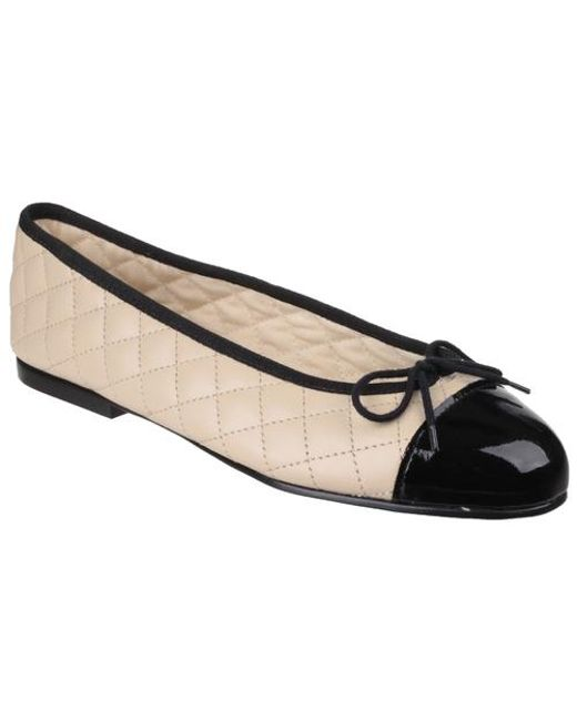 62cc43e13bf7 French Sole Simple Quilt Cream Leather Patent Toe Cap in Natural - Lyst