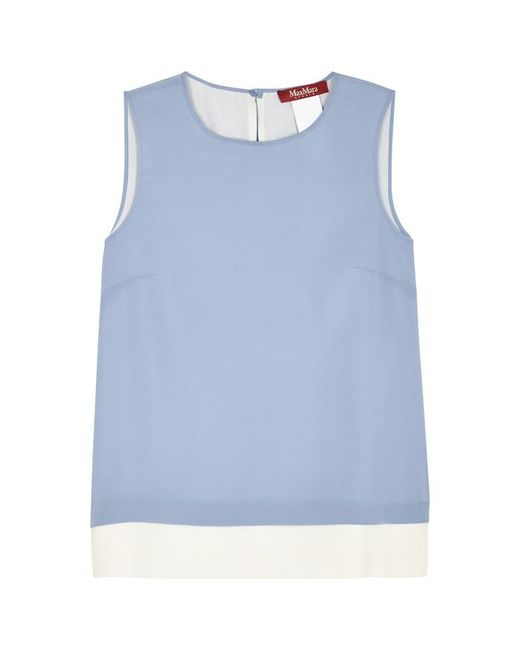 Max Mara Studio - Light Blue And Ivory Silk Top - Lyst