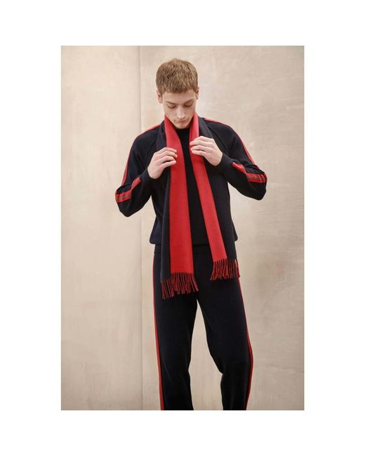 Johnstons - Blue Navy & Red Contrast Reversible Cashmere Scarf for Men - Lyst