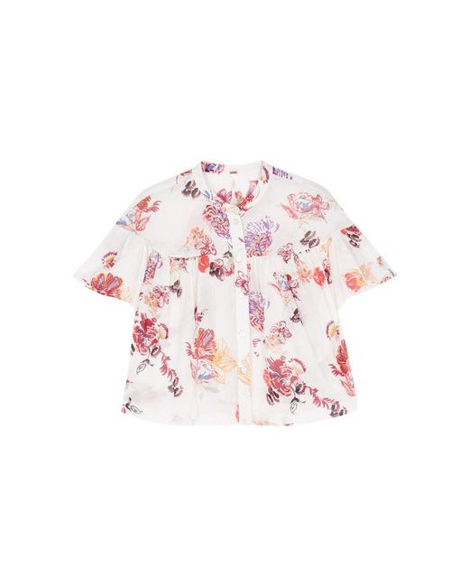 Free People | White Sweet Escape Floral-print Cotton Shirt | Lyst