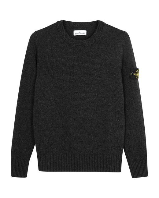 Stone Island - Black Anthracite Wool Blend Jumper for Men - Lyst