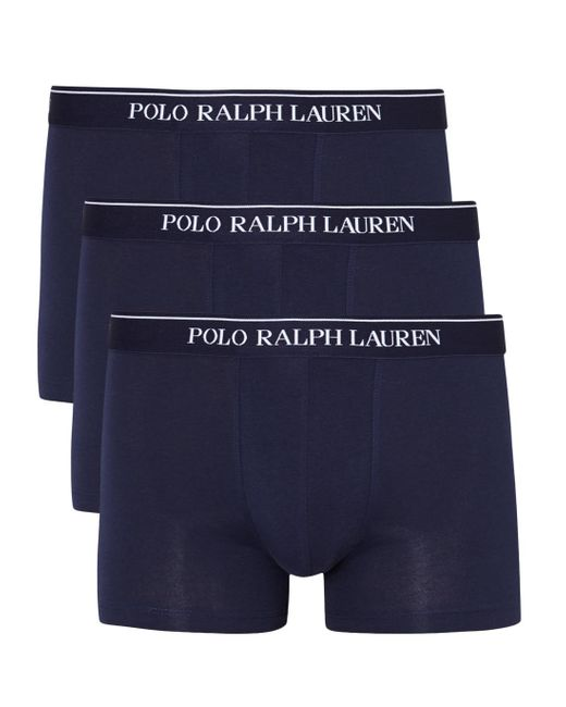 Polo Ralph Lauren | Blue Navy Stretch Cotton Boxer Briefs - Set Of Three - Size M for Men | Lyst
