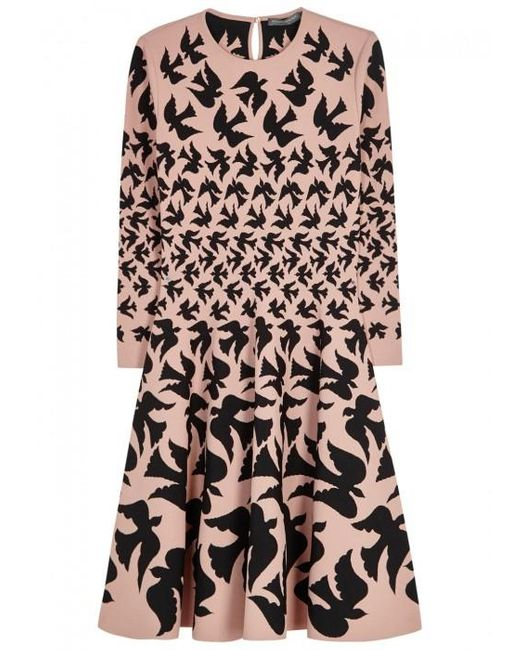 Alexander McQueen | Pink Blush Dove-intarsia Dress | Lyst