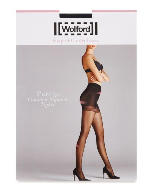 Wolford | Pure Black 30 Denier Support Tights - Size M | Lyst