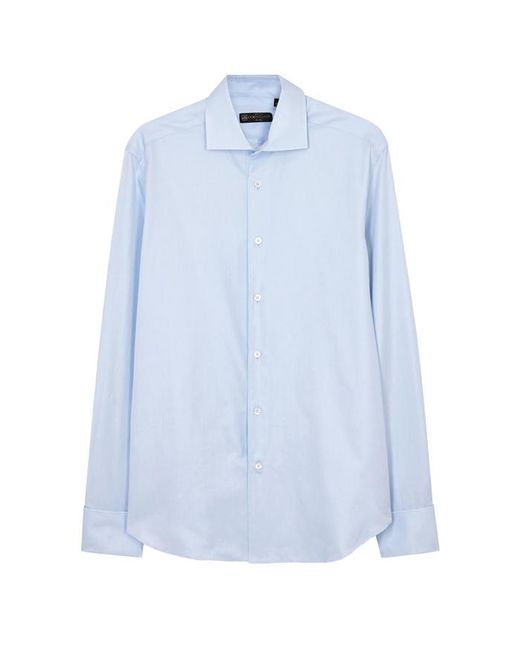Corneliani - Light Blue Cotton Twill Shirt - Size 16.5 for Men - Lyst