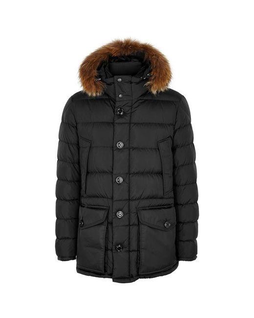 Moncler - Black Cluny Fur-trimmed Shell Jacket for Men - Lyst