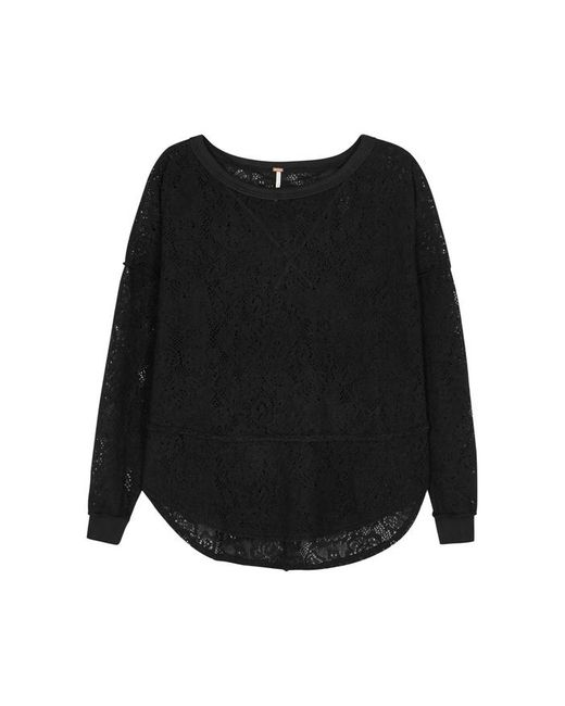 Free People - Black Not Cold In This Pointelle-knit Jumper - Lyst