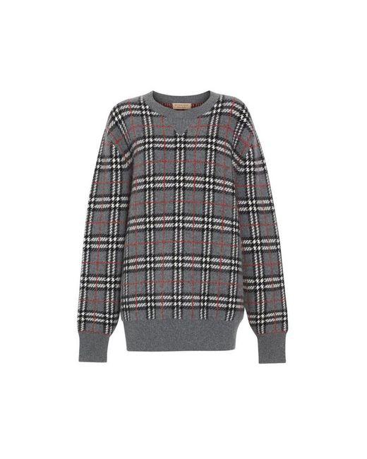 5ad3e9c1317c Burberry Check Cashmere Jacquard Sweater in Gray - Lyst
