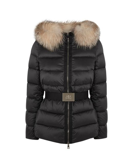 Moncler - Tatie Black Fur-trimmed Jacket - Lyst