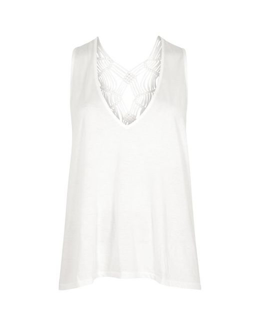 Free People - White Wilder Ivory Macramé Jersey Top - Lyst