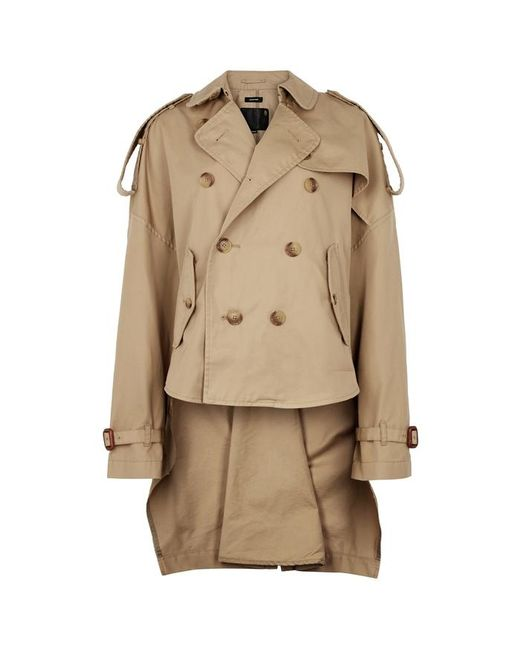4447a0741b3b R13 Taupe Cropped Cotton-blend Trench Coat in Natural - Lyst