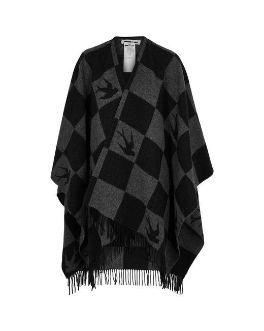 McQ Alexander McQueen - Black Checked Wool-blend Poncho - Lyst