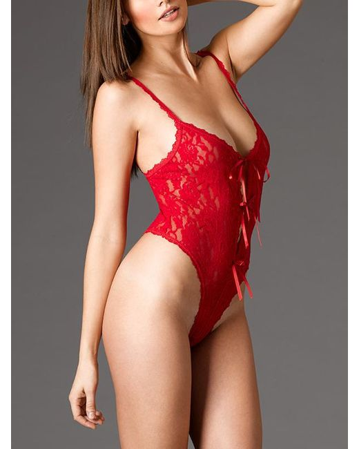 70964212191d Hanky Panky Lace Open Gusset Crotchless Teddy By in Red - Save 31 ...