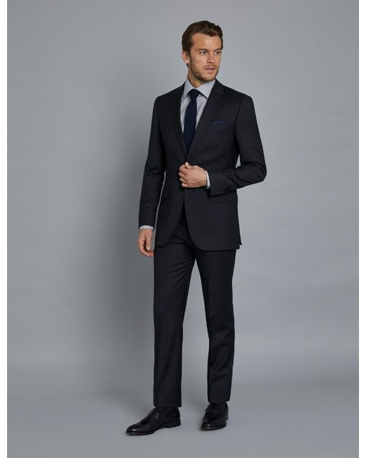 Hawes & Curtis Blue Charcoal & Navy Prince Of Wales Plaid Extra Slim Fit Suit Wool Curtis for men