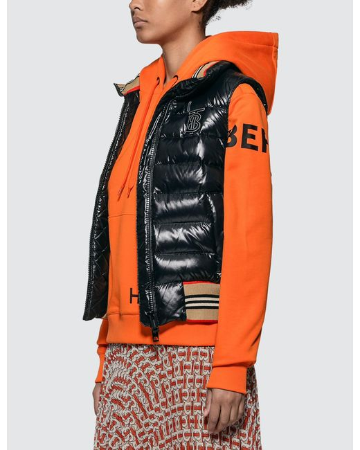 Burberry Goose Icon Stripe Detail Down Filled Puffer Gilet