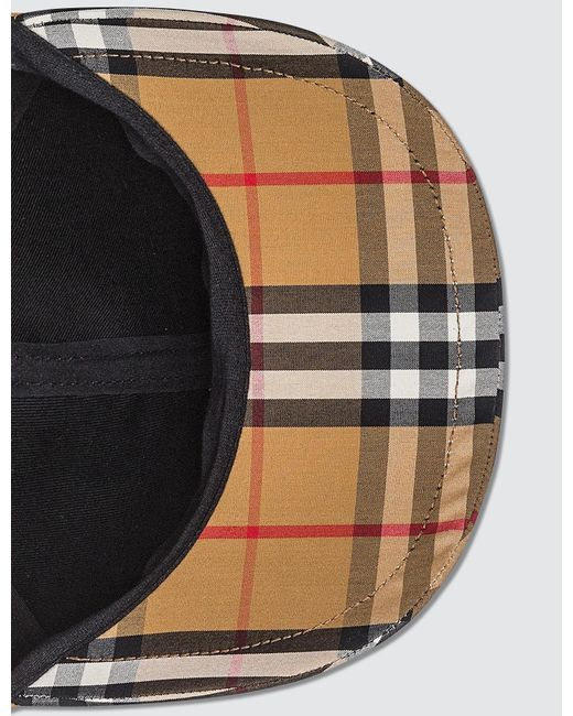 9fda2a53c94 Lyst - Burberry Checked Cotton-canvas Baseball Cap in Natural - Save 40%