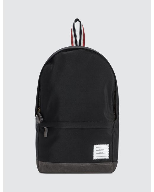 Thom Browne - Black Unstructured Backpack In Nylon Plain Weave + Suede for Men - Lyst