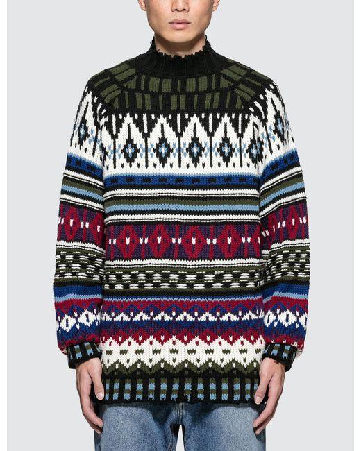 MSGM - Blue Multi Sweater for Men - Lyst