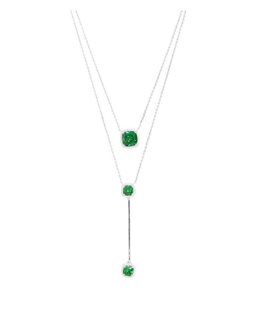 Henri Bendel - Green Pave Asscher Double Necklace - Lyst