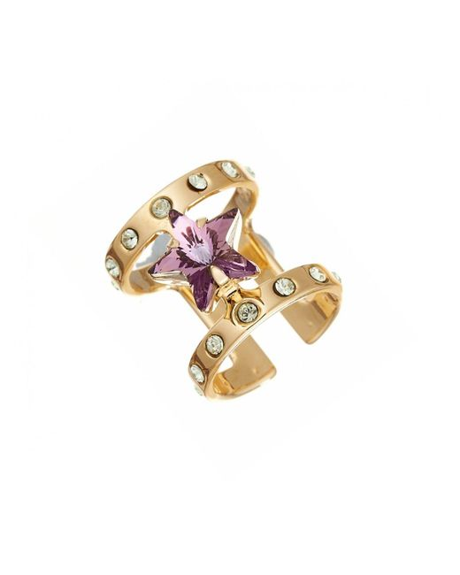Maria Francesca Pepe | Metallic Encrusted Star Midi Ring Gold | Lyst
