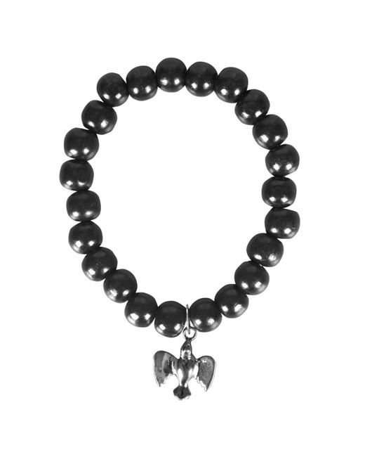 Rosa Maria - Black Silver Bird Wooden Beaded Bracelet - Lyst