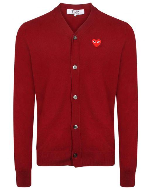 Comme des Garçons - Play Red Heart Cardigan Burgundy for Men - Lyst