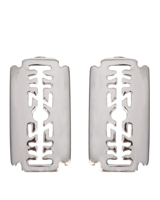 KTZ | Metallic Razor Blade Earrings Silver | Lyst