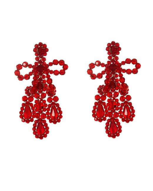 Simone Rocha - Red Crystal-beaded Earrings - Lyst