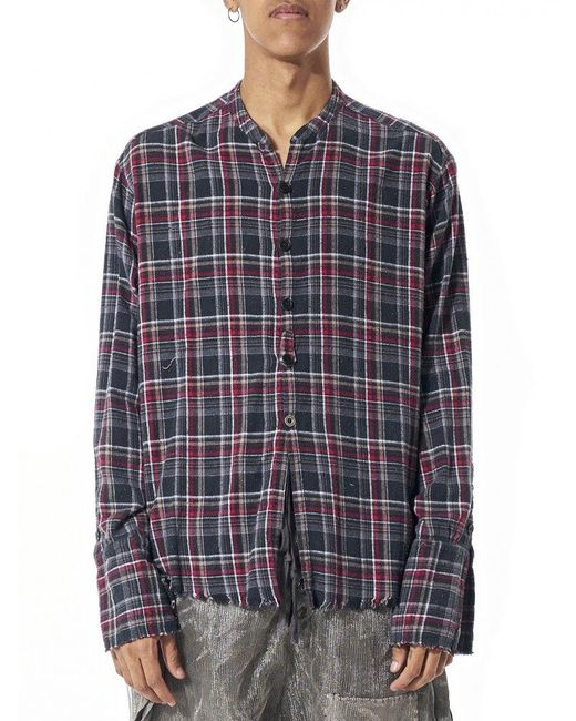 Greg Lauren Deconstructed Plaid Shirt In Multicolor For