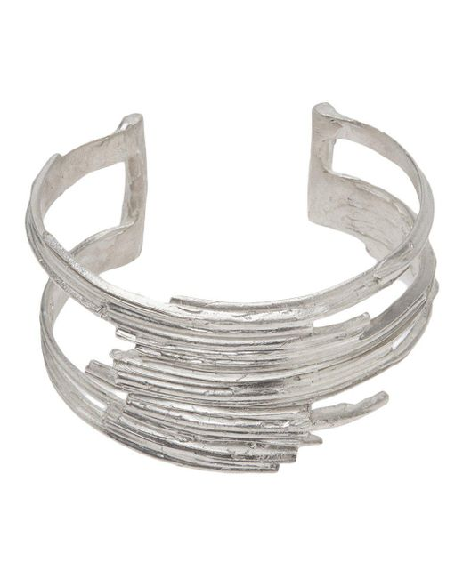 1-100   Metallic Sterling Silver Layered Cuff   Lyst