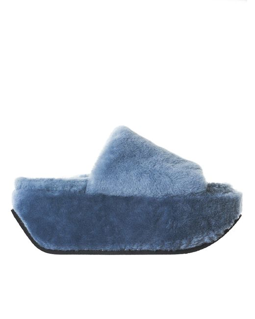Peter Non - Blue Platform Wedge Slides - Lyst