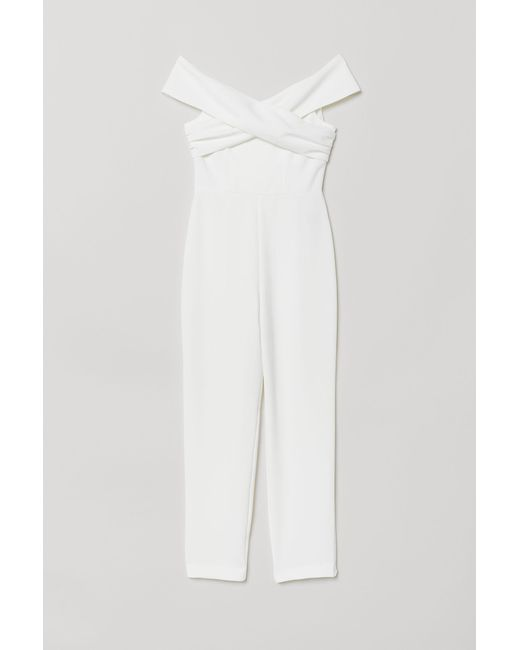 629a96d6060b H M Off-the-shoulder Jumpsuit in White - Lyst