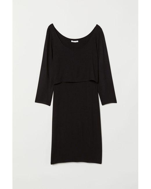 ebbcc02378adb H&M Mama Nursing Dress in Black - Lyst