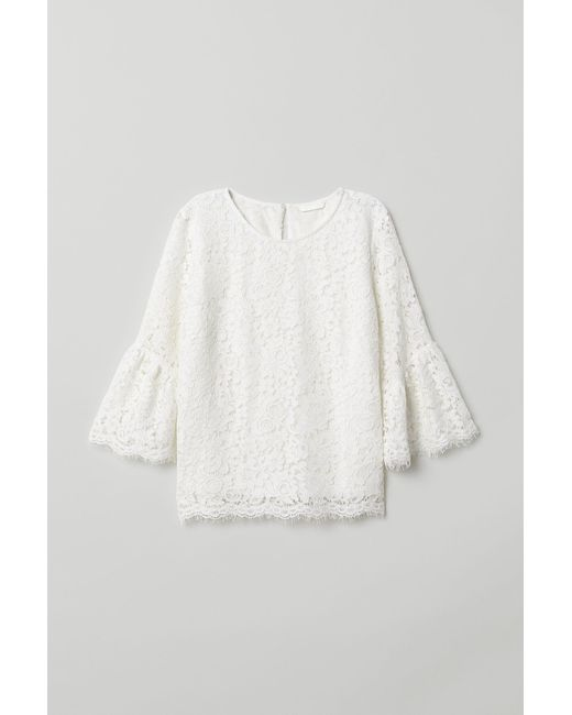 H&M - White Lace Blouse - Lyst