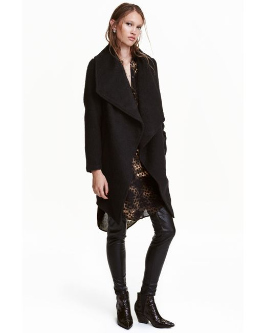 H&M - Black Double-breasted Coat - Lyst
