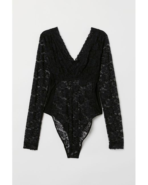 2d4056e46a H M Long-sleeved Lace Body in Black - Lyst
